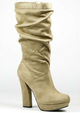 Taupe Beige Faux Suede Knee High w Zipper Chunky Heel Platform Boot 8.5 us