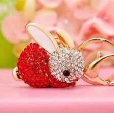 rabbit Keychain Rhinestone Crystal Keyring Key Ring Chain Bag Charm Pendant Gift