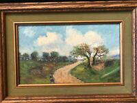 "F.M.R Signed Original Oil Painting Landscape, Framed, 9 1/2"" x 5 3/4"" (Image)"