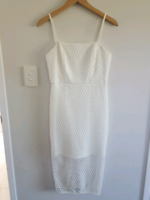 Worn Once EUC  Kookai 38 WHITE Aria Midi Dress, lattice style crochet