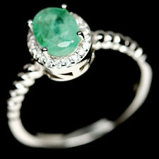 NATURAL 6 X 8mm. GREEN EMERALD & WHITE CZ STERLING 925 SILVER RING SZ 8