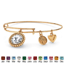 Birthstone Charm Bangle Bracelet MADE WITH SWAROVSKI ELEMENTS In Antique Gold To