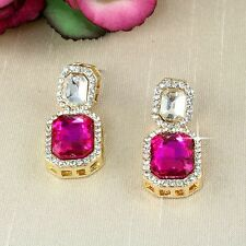 E9 Vintage Look Wedding Prom Party Pink Crystal Stud Earrings in Gift Box