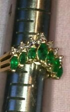 Emerald and Diamond ring - 14k - size 5