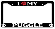 Black License Plate Frame I Heart My Puggle (Paw) Auto Accessory 535