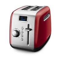 KitchenAid RR-Kmt222er 2 Slice Red Digital Stainless Steel Toaster LCD display