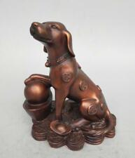 China's Seiko carving pure brass purple coin dog wealth statue