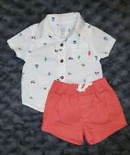 EUC Carters Baby Boy Clothes 3 Months 2 Piece Short Sleeve Shirt Shorts Outfit