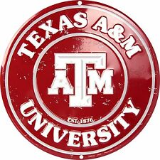 "Texas A&M University Aggies Embossed Metal 12"" Circle Sign"