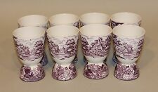 8 RARE Enoch Wood & Son English Scenery Purple 4 Inch Egg Coddlers / Footed Cups