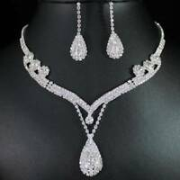 Charm Bridal Wedding Clear Crystal Rhinestone Water Drop Necklace Earrings Set