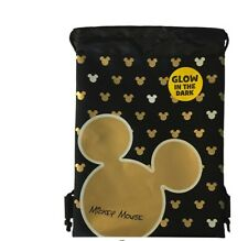 Disney Mickey Mouse Clubhouse Logo Glow in the Dark Drawstring Backpack - Gold