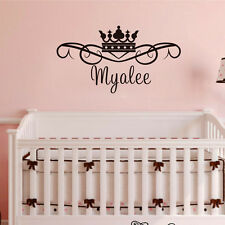 Princess Crown Custom Wall Sticker For Girls Bedroom Customized Kids Name Decal