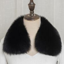 Super Beauty Black Real Vulpes lagopus Fox Fur Collar Scarf Wrap Shawl Neck Cape