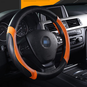 Black/Orange Leather Car Steering Wheel Cover PU Universal Fit For 38cm / 15in