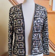 Vintage Bonnie Wong Hong Kong Sequinned Beaded Jacket Black Silver Ladies 10