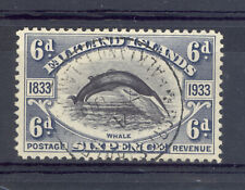 FALKLAND ISLANDS SG 133 1933 CENTENARY  FIN WHALE STAMP FINE USED