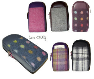 Luxury ladies Leather & tweed Abertweed wide Glasses case Mala Leather 572 40