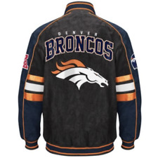Denver BRONCOS NWT NFL Colorblocked Suede Jacket by GIII ~ Large