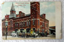1909 POSTCARD CANTON OHIO CENTRAL ENGINE HOUSE FIRE DEPARTMENT #2W