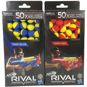 Nerf Rival Precision Battling Team Blue & Red High Impact Rounds Balls 50x Each