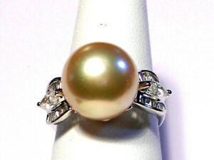 13mm golden South Sea pearl ring, diamonds, solid 18k white gold.