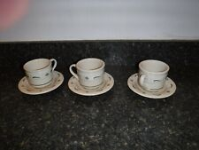 Longaberger Pottery Woven Traditions- 3 Heritage Green Cups and 3 Saucers-China