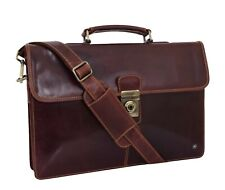 Mens Slimline Genuine Leather Briefcase Brown Messenger Office Business Bag NEW