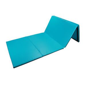 "4'x10'x2"" Gymnastics Gym Folding Exercise Aerobics Tumbling Yoga Mat Blue-Green"
