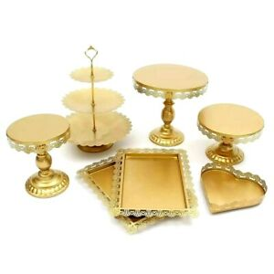 7Pcs/Set Gold White Metal Grand Baker Cake Stand Wedding Party Tools Display Kit