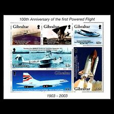 Gibraltar 2003 - The 100th Anniv of Flight Aviation Airliners S/S - Sc 937a MNH