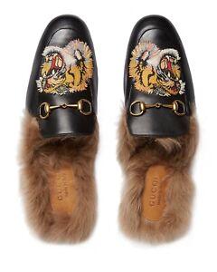NIB Gucci Princetown Tiger Detailed Fur Lined Horsebit Mule 7.5EU/8.5US $1100.00