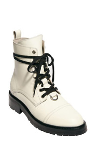 Allsaints Lira Hiking White Boots Ankle Booties  38 Combat Lace Up Shoes