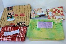 5 Pieces of Fabric  & Silk Japanese Kimono Fabric Panel