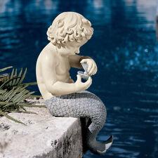 Sea Mermaid Merboy Merman Statue Sculpture Nautical Tropical Decor Mythical Art