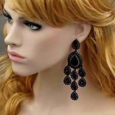 Black Alloy Jet Crystal Rhinestone Chandelier Drop Dangle Earrings 09885 New