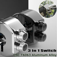 1'' Motorcycle Universal CNC Handle Bars M-Switch Hand Control Push-Button 3in1