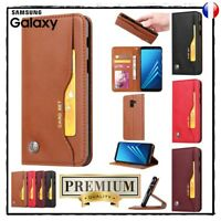 Etui coque housse Cuir PU Leather Wallet Case Cover Samsung Galaxy A8  (2018)