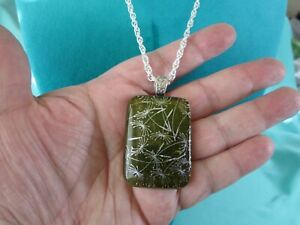 """Green Dichroic Glass Pendant Necklace 18"""" Silver Plated Twisted Rope Chain"""