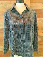 CHICOS-Size 3 Women~XL Plus Black/White Long-Sleeve Cotton Button-Shirt Top NWOT