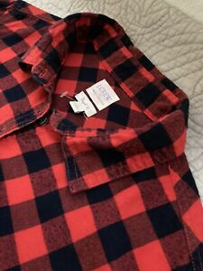 Womens J Crew Buffalo Check Plaid Flannel Petite Fit L Large Red Pullover #EB1
