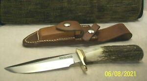 1990's~RANDALL~MODEL 5-5~MINT~STAG CUSTOM HIGH END CAMP & TRAIL KNIFE & SHEATH~
