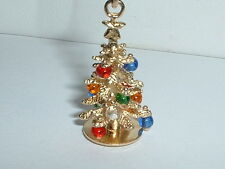 14k YELLOW GOLD 3D MOVEABLE CHRISTMAS TREE PENDANT CHARM w/ ornaments