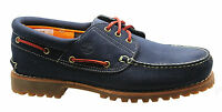 Timberland Authentic 3 Eye Classic Lug Mens Boat Shoes Navy Blue Nubuck 9753B T2