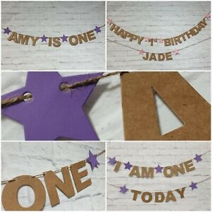 Personalised Birthday Bunting Party Decoration KRAFT CARD Banner First 1st 2nd