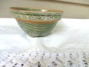 Vtg tiny MCCOY Green Sunburst Yellow Ware Stoneware Nesting Mixing Bowl,smallest