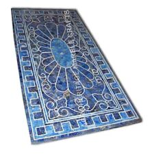 3'x2' Marble Hallway Center Table Top Random Lapis Lazuli Inlay Home Decor E1008