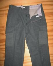 Vtg HUNI German Heavy Wool Military Hunting Cargo Trouser Pants Unhemmed 32Wx30L