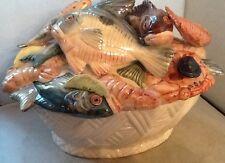 ITALIAN MAJOLICA FISH CASSEROLE / TUREEN, VINTAGE PIECE