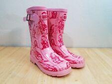 Hanna Montana Pink Rain Boots Rain Girls Size 1 Red Design Buckle Slip-Ons